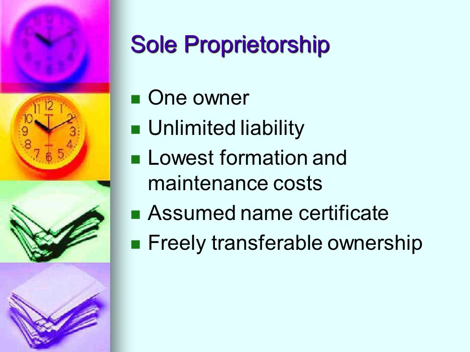 Sole Proprietorship One owner Unlimited liability Lowest formation and maintenance costs Assumed name certificate Freely transferable ownership
