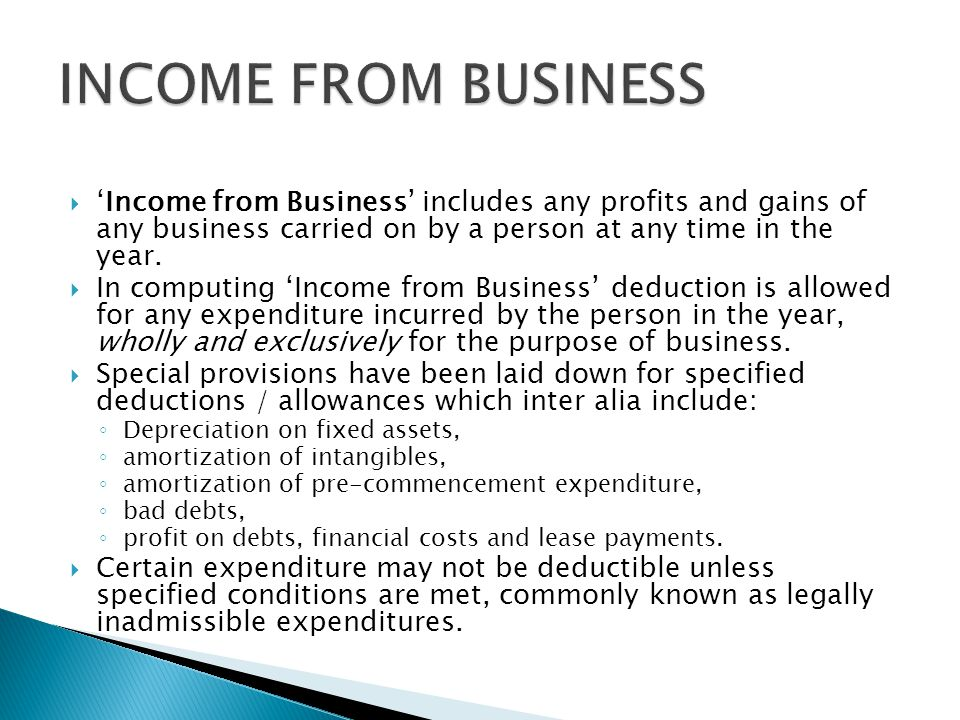  'Income from Business' includes any profits and gains of any business carried on by a person at any time in the year.