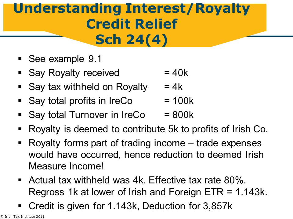 © Irish Tax Institute 2011 Understanding Interest/Royalty Credit Relief Sch 24(4)  See example 9.1  Say Royalty received = 40k  Say tax withheld on Royalty= 4k  Say total profits in IreCo = 100k  Say total Turnover in IreCo= 800k  Royalty is deemed to contribute 5k to profits of Irish Co.