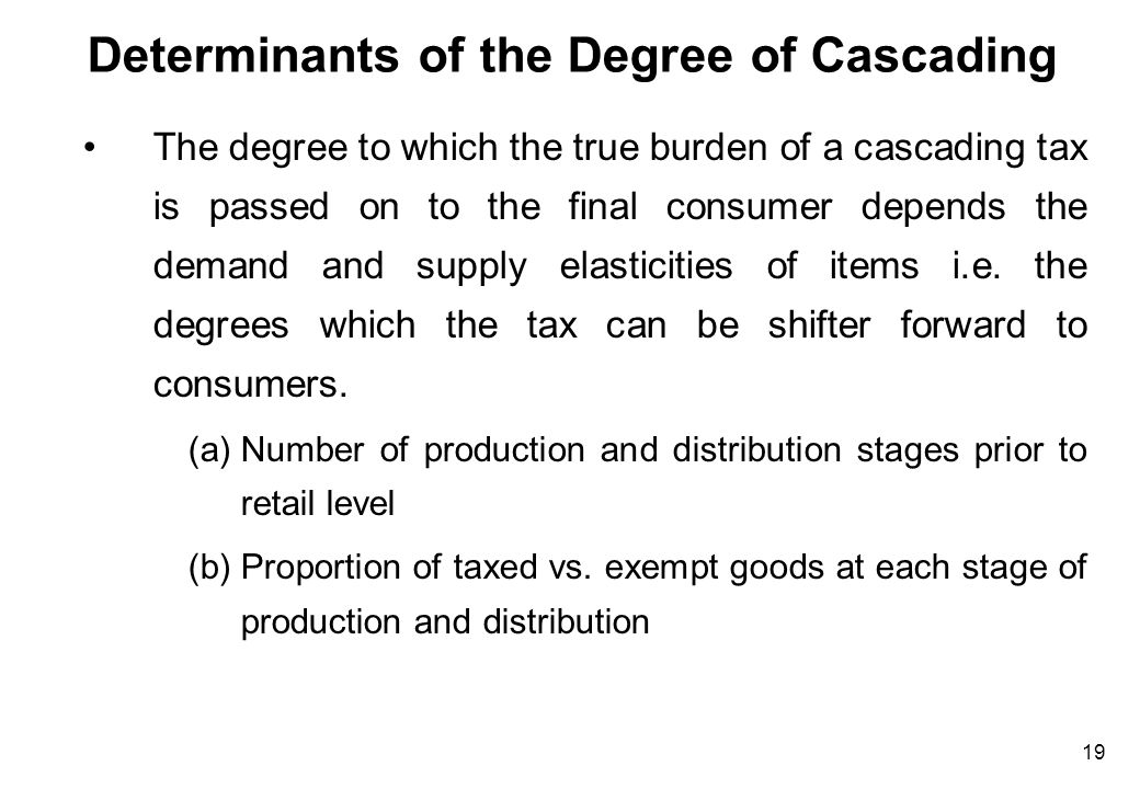 19 Determinants of the Degree of Cascading The degree to which the true burden of a cascading tax is passed on to the final consumer depends the deman