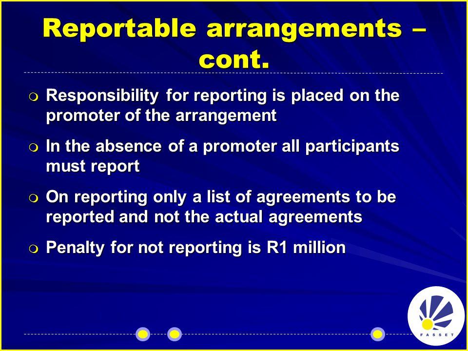 Reportable arrangements – cont.