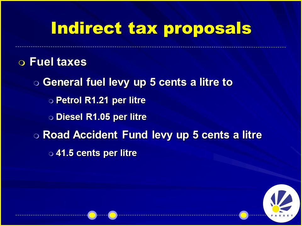 Indirect tax proposals  Fuel taxes  General fuel levy up 5 cents a litre to  Petrol R1.21 per litre  Diesel R1.05 per litre  Road Accident Fund levy up 5 cents a litre  41.5 cents per litre