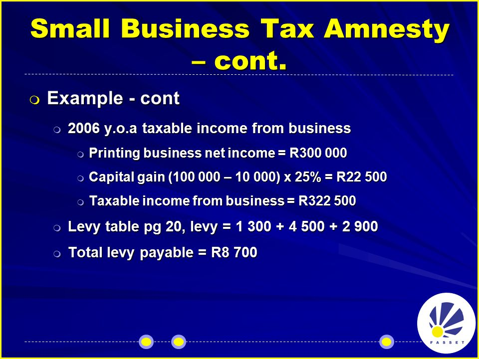 Small Business Tax Amnesty – cont.