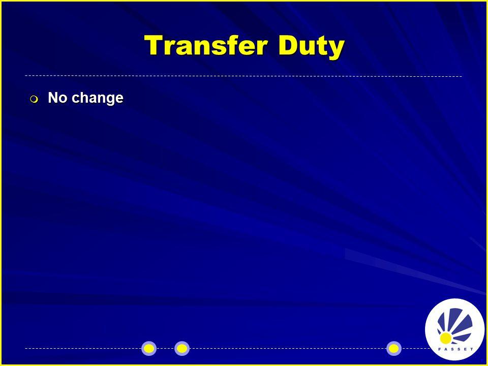 Transfer Duty  No change