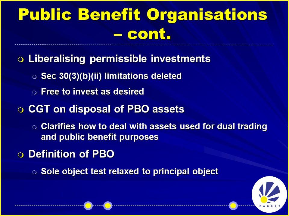 Public Benefit Organisations – cont.