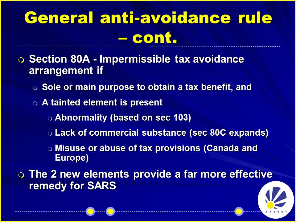 General anti-avoidance rule – cont.