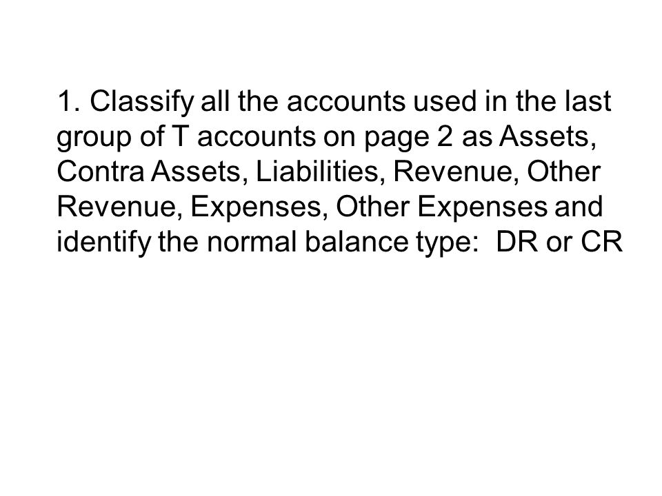 Cash – Current Assets - DR Note Rec – Current Asset - DR Note Rec Discounted – Contra Current Asset - CR Notes Rec Past Due – Current Asset - DR Sales Tax Payable – Current Liability - CR Sales – Revenue - CR Interest Income – Other Income - CR Interest Expense – Other Expenses - DR Miscellaneous Expense – Expenses - DR