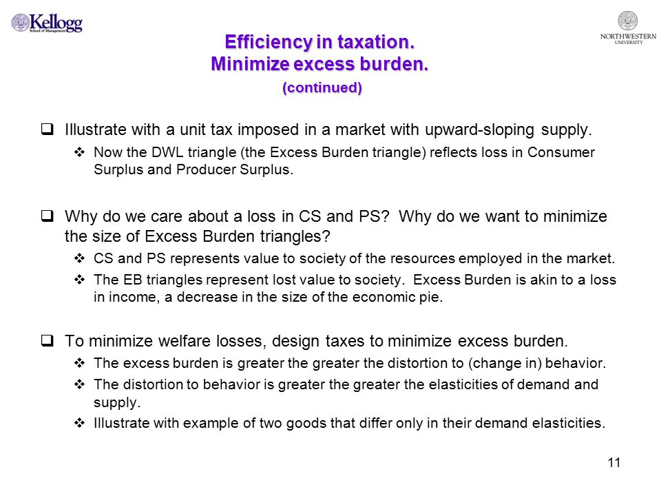 11 Efficiency in taxation. Minimize excess burden.