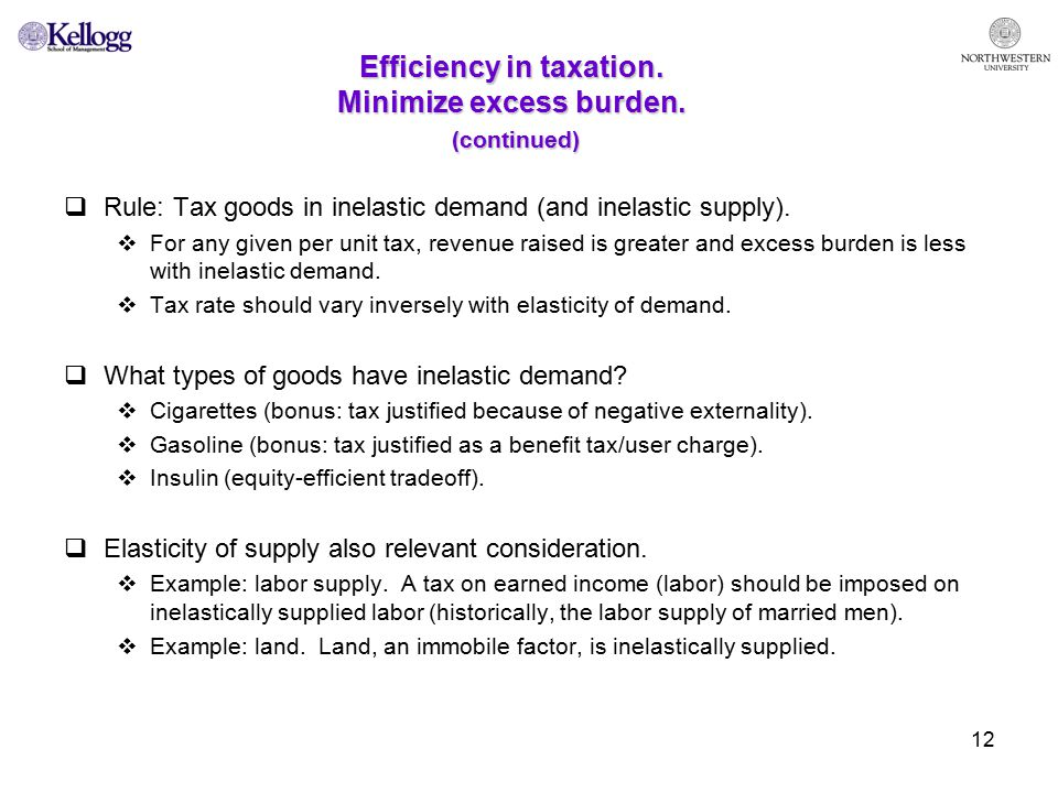12 Efficiency in taxation. Minimize excess burden.