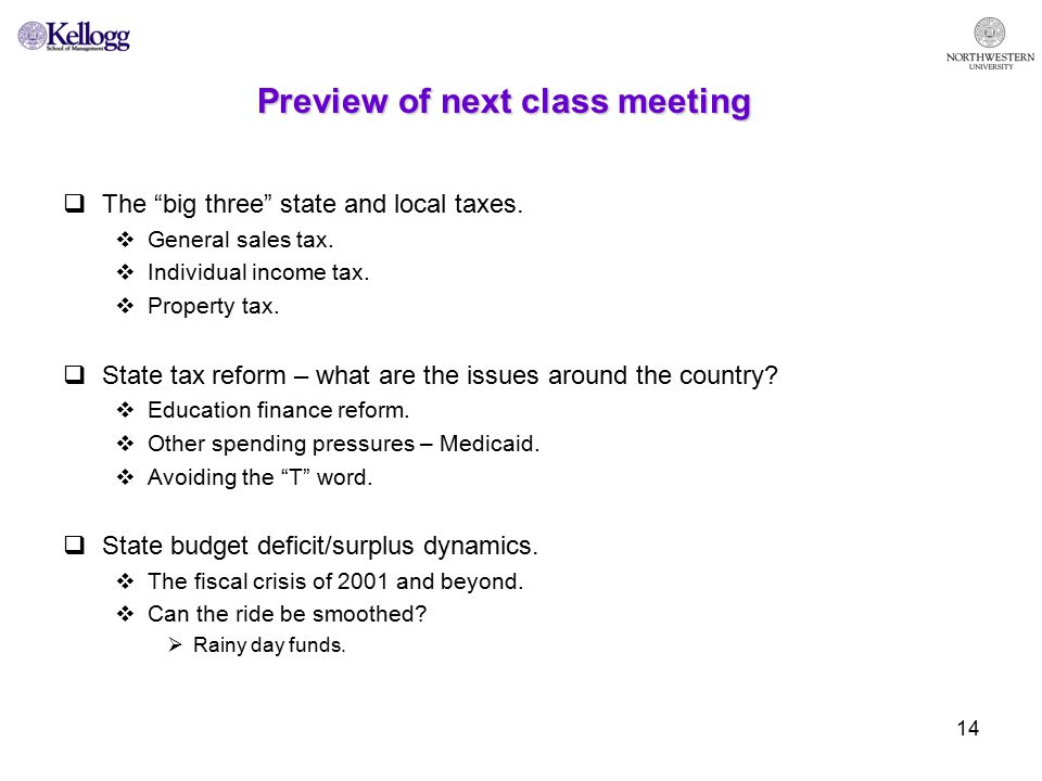 14 Preview of next class meeting  The big three state and local taxes.