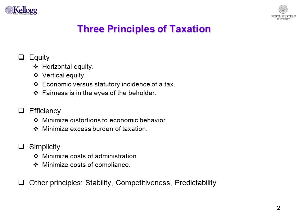 2 Three Principles of Taxation  Equity  Horizontal equity.