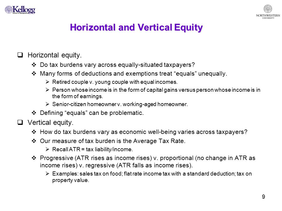 9 Horizontal and Vertical Equity  Horizontal equity.