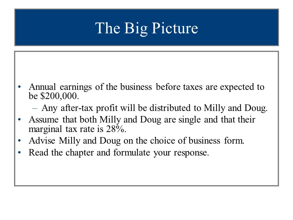 The Big Picture Annual earnings of the business before taxes are expected to be $200,000.