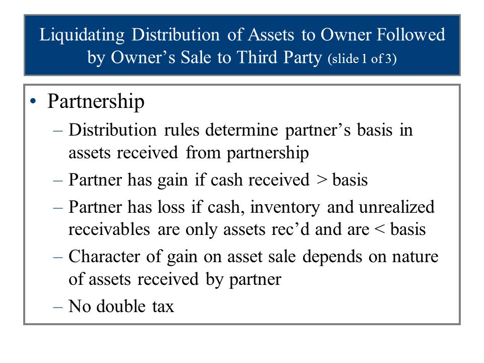 Liquidating Distribution of Assets to Owner Followed by Owner's Sale to Third Party (slide 1 of 3) Partnership –Distribution rules determine partner's basis in assets received from partnership –Partner has gain if cash received > basis –Partner has loss if cash, inventory and unrealized receivables are only assets rec'd and are < basis –Character of gain on asset sale depends on nature of assets received by partner –No double tax
