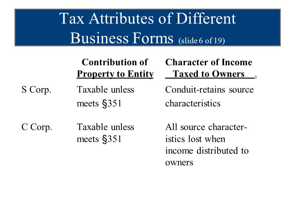 Tax Attributes of Different Business Forms (slide 6 of 19) Contribution ofCharacter of Income Property to Entity Taxed to Owners.