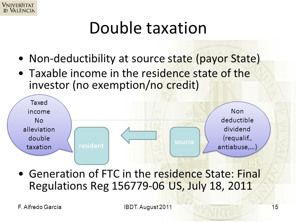 Double taxation Non-deductibility at source state (payor State) Taxable income in the residence state of the investor (no exemption/no credit) Generat