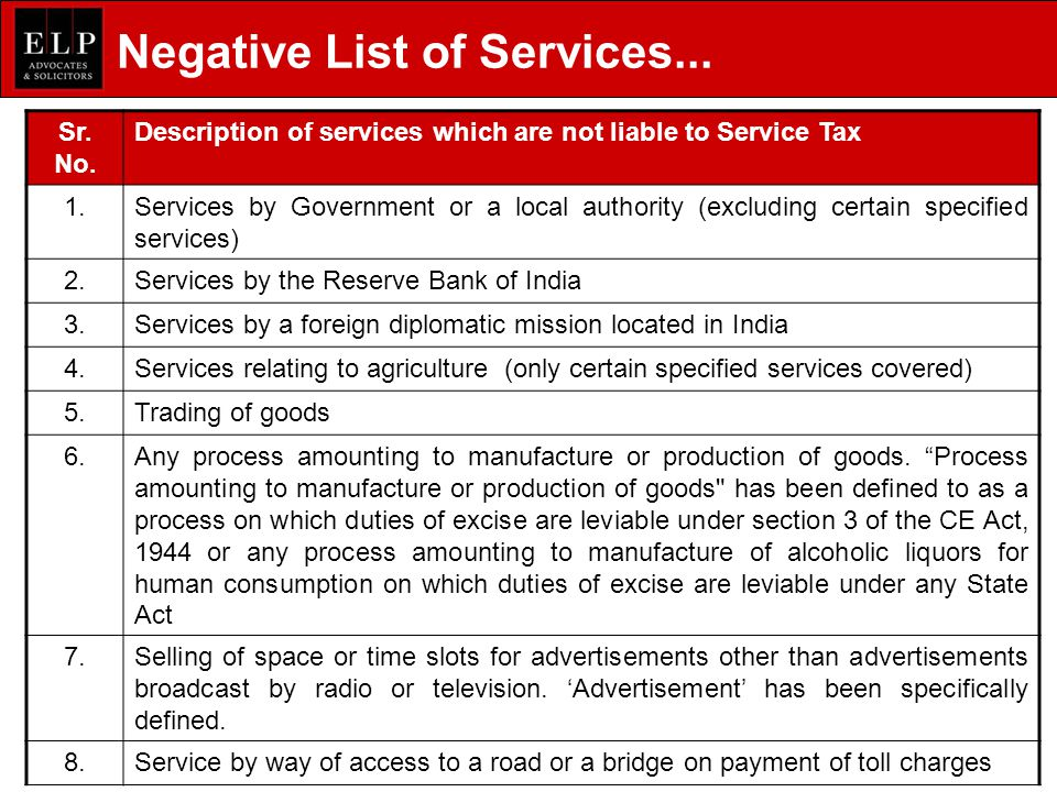 Negative List of Services...Sr. No.