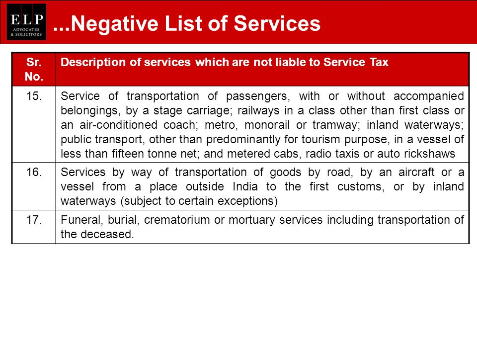 ...Negative List of Services Sr.No.