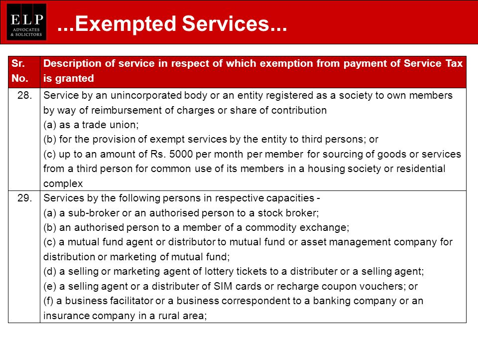Sr. No. Description of service in respect of which exemption from payment of Service Tax is granted 28.Service by an unincorporated body or an entity