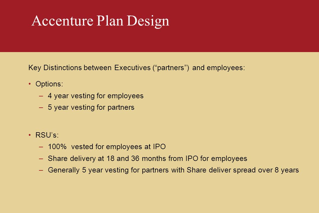 Accenture Plan Design Key Distinctions between Executives ( partners ) and employees: Options: –4 year vesting for employees –5 year vesting for partners RSU's: –100% vested for employees at IPO –Share delivery at 18 and 36 months from IPO for employees –Generally 5 year vesting for partners with Share deliver spread over 8 years
