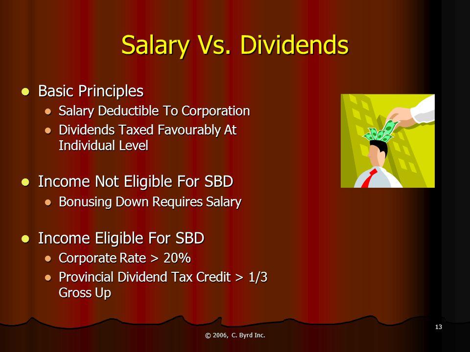 © 2006, C. Byrd Inc. 13 Salary Vs. Dividends Basic Principles Basic Principles Salary Deductible To Corporation Salary Deductible To Corporation Divid