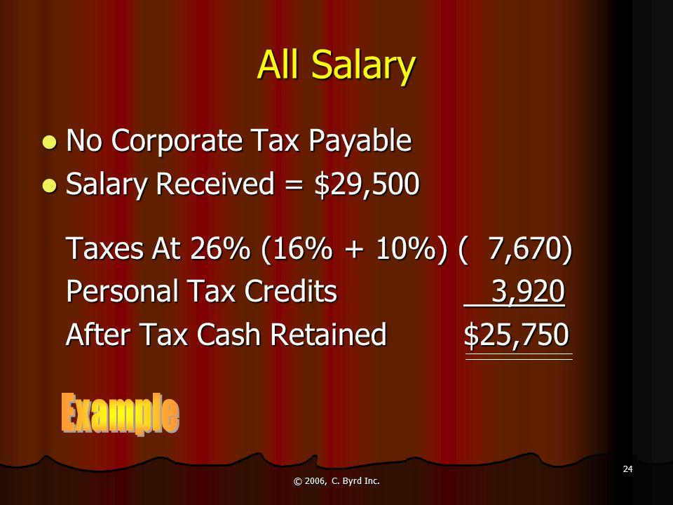 © 2006, C. Byrd Inc. 24 All Salary No Corporate Tax Payable No Corporate Tax Payable Salary Received = $29,500 Salary Received = $29,500 Taxes At 26%