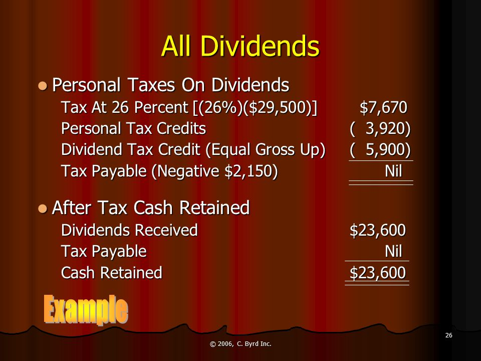 © 2006, C. Byrd Inc. 26 All Dividends Personal Taxes On Dividends Personal Taxes On Dividends Tax At 26 Percent [(26%)($29,500)] $7,670 Personal Tax C