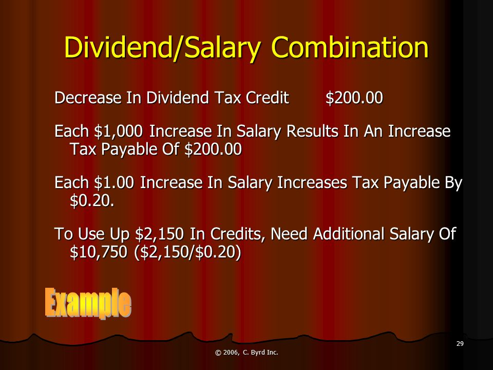 © 2006, C. Byrd Inc. 29 Dividend/Salary Combination Decrease In Dividend Tax Credit$200.00 Each $1,000 Increase In Salary Results In An Increase Tax P