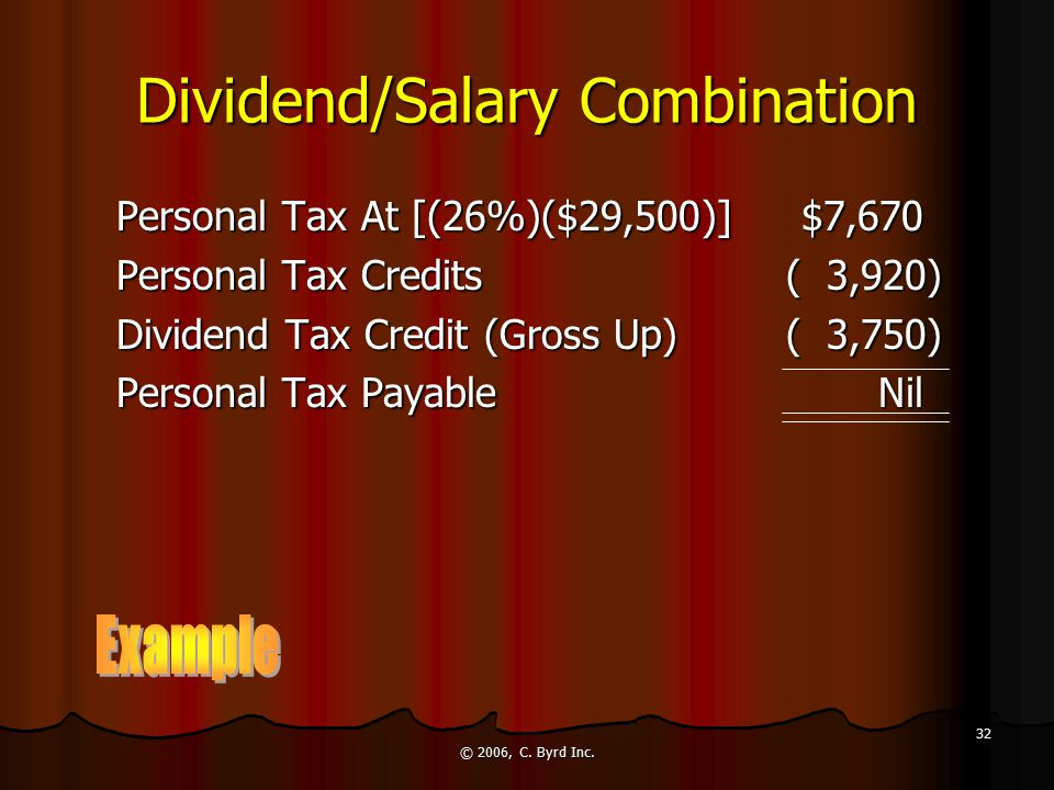 © 2006, C. Byrd Inc. 32 Dividend/Salary Combination Personal Tax At [(26%)($29,500)]$7,670 Personal Tax Credits ( 3,920) Dividend Tax Credit (Gross Up