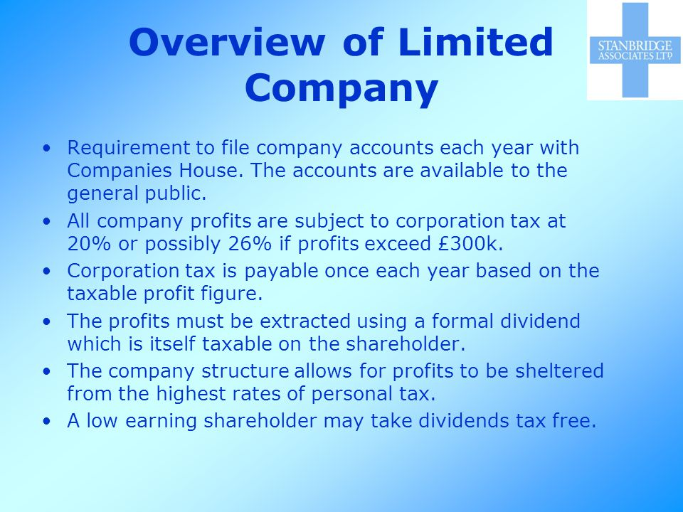 Overview of Limited Company Requirement to file company accounts each year with Companies House.