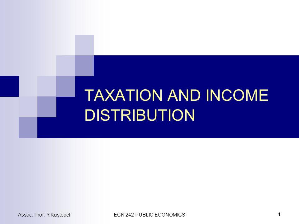 Assoc. Prof. Y.KuştepeliECN 242 PUBLIC ECONOMICS 1 TAXATION AND INCOME DISTRIBUTION
