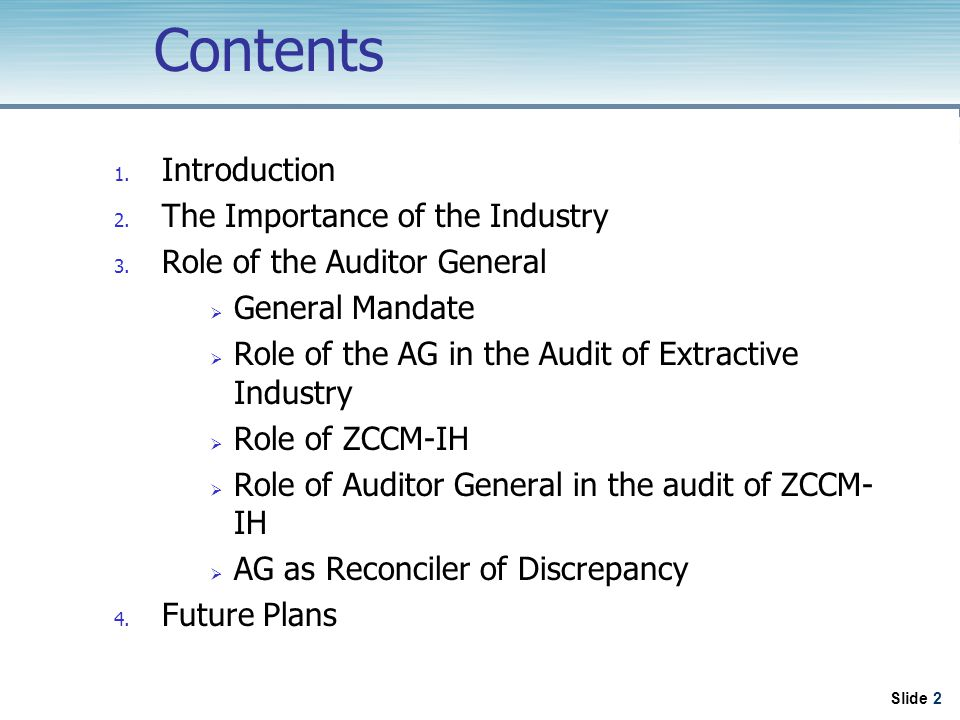 Slide 2 Contents 1. Introduction 2. The Importance of the Industry 3.