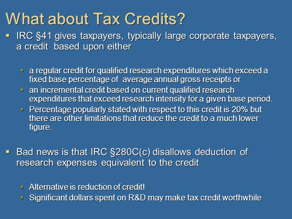 What about Tax Credits.