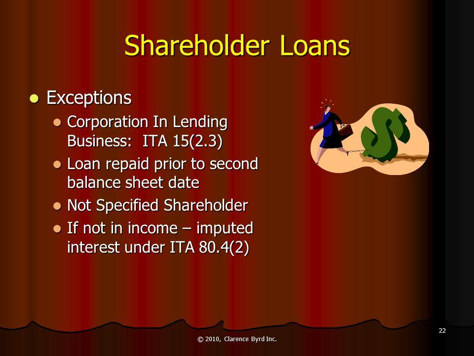 Shareholder Benefits Loans - ITA 15(2) Loans - ITA 15(2) General Requirements General Requirements Principal amount must be added to shareholder's inc