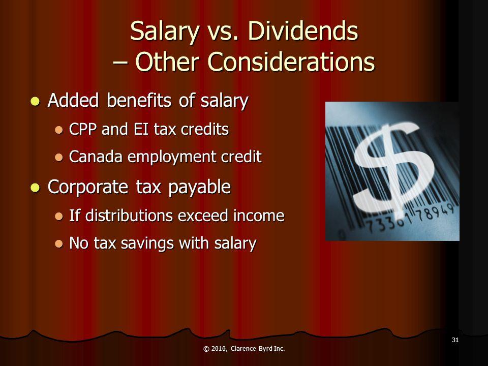 Salary vs. Dividends – Other Considerations Cumulative net investment loss (CNIL) Cumulative net investment loss (CNIL) CNIL reduces available lifetim