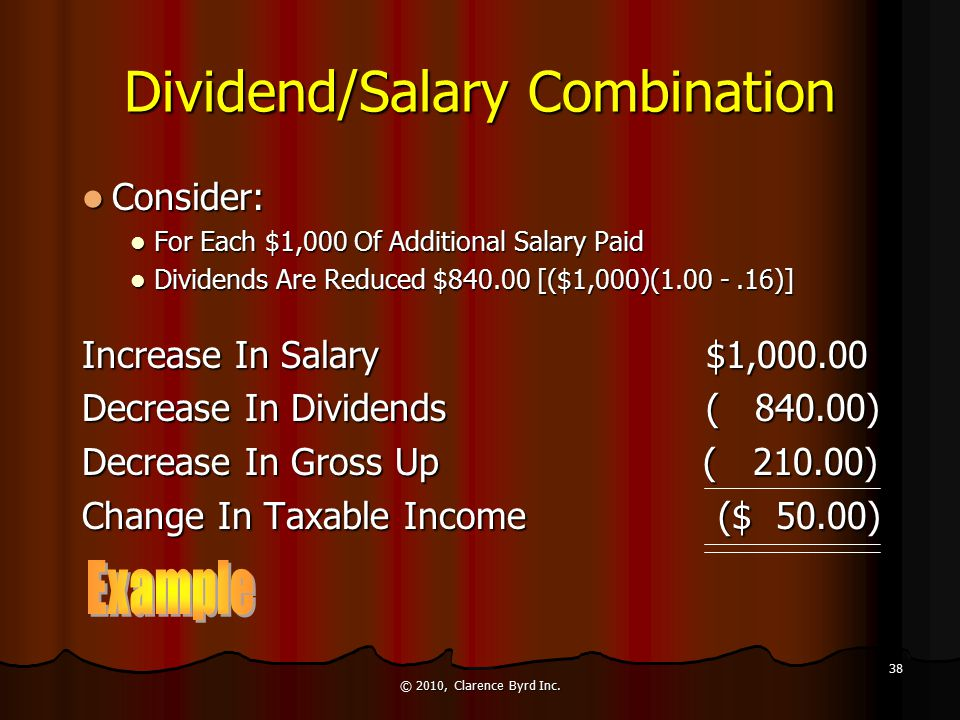 All Dividends The All Dividend Approach Leaves $2,371 In Unused Personal Tax Credits The All Dividend Approach Leaves $2,371 In Unused Personal Tax Credits A Combination Of Salary And Dividends May Provide A Better After Tax Retention A Combination Of Salary And Dividends May Provide A Better After Tax Retention © 2010, Clarence Byrd Inc.