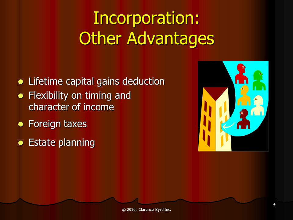 Incorporation: Other Advantages Limited Liability Limited Liability Shareholders' liability to creditors limited to amounts invested Shareholders' liability to creditors limited to amounts invested For smaller corporations, personal guarantees almost always required to obtain significant financing For smaller corporations, personal guarantees almost always required to obtain significant financing Protection from other types of liabilities (e.g., product liability) Protection from other types of liabilities (e.g., product liability) © 2010, Clarence Byrd Inc.