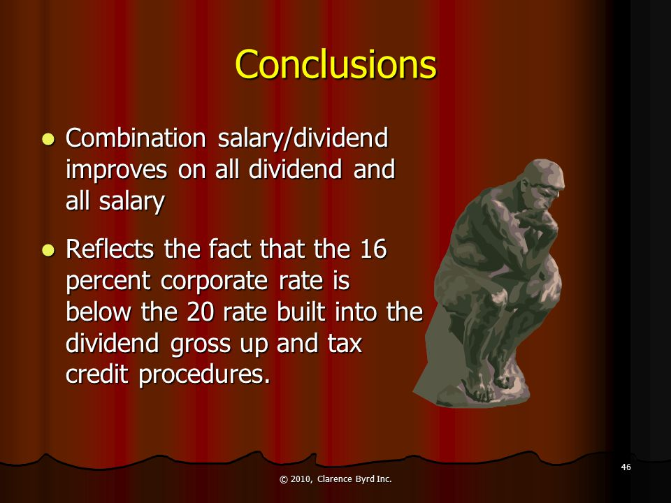Conclusions All Dividends Ineffective Doesn't use all credits Need minimum salary of $12,005 to use credits (in this example) © 2010, Clarence Byrd Inc.