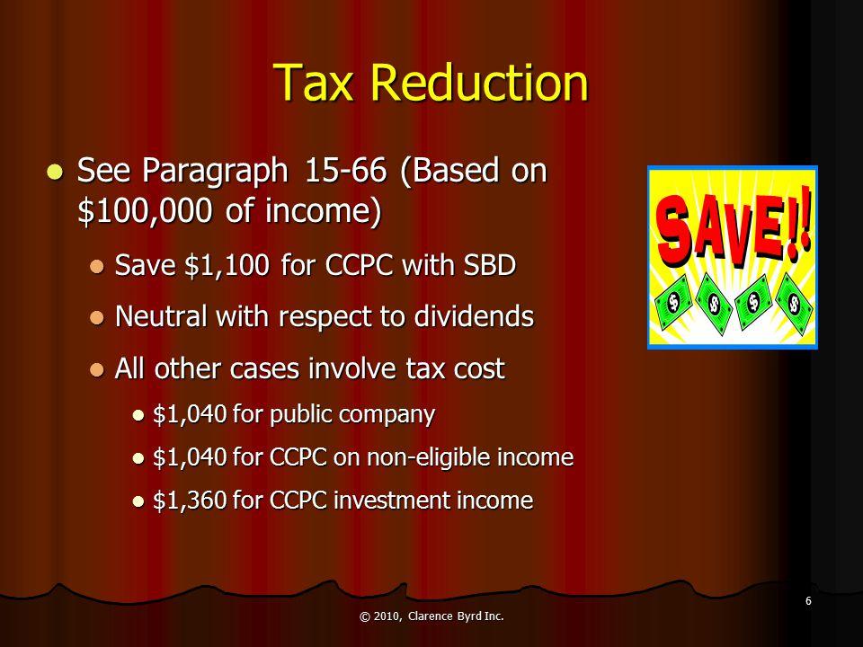 Incorporation: Disadvantages Loss deductions Loss deductions Tax credits Tax credits Charitable donations (deduction, not credit) Charitable donations