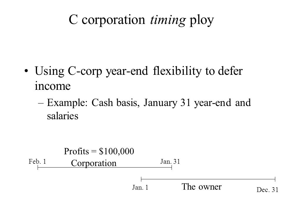 C corporation timing ploy Using C-corp year-end flexibility to defer income –Example: Cash basis, January 31 year-end and salaries Feb. 1 Jan. 1 Dec.