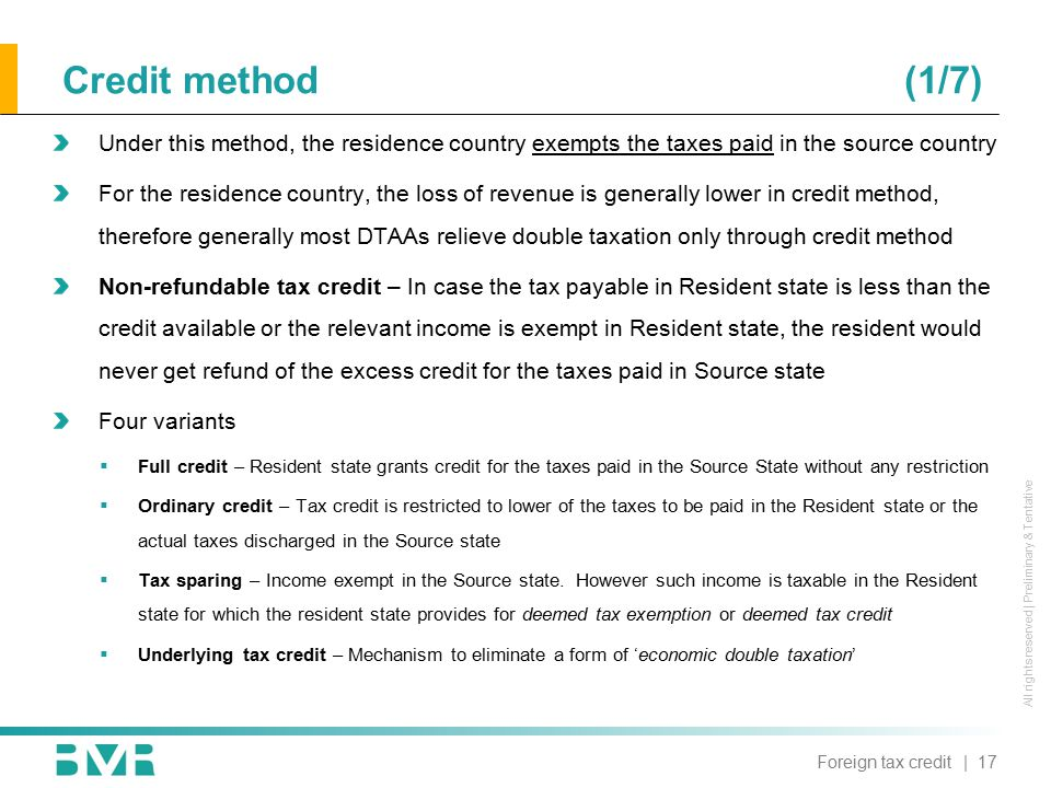 All rights reserved | Preliminary & Tentative Under this method, the residence country exempts the taxes paid in the source country For the residence
