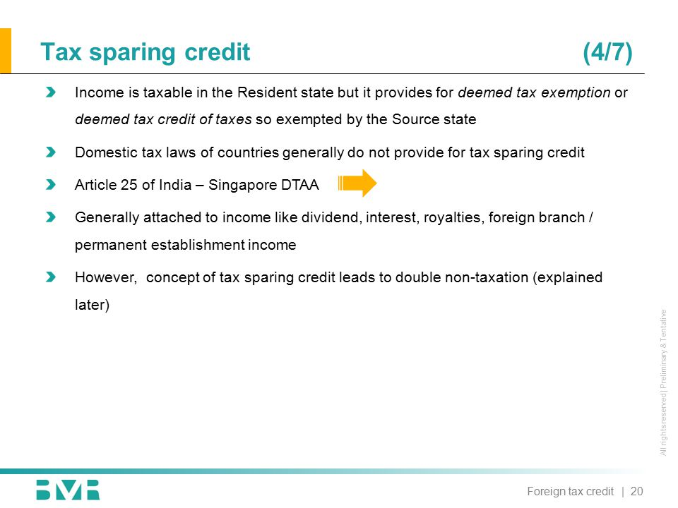 All rights reserved | Preliminary & Tentative Tax sparing credit(4/7) Income is taxable in the Resident state but it provides for deemed tax exemption or deemed tax credit of taxes so exempted by the Source state Domestic tax laws of countries generally do not provide for tax sparing credit Article 25 of India – Singapore DTAA Generally attached to income like dividend, interest, royalties, foreign branch / permanent establishment income However, concept of tax sparing credit leads to double non-taxation (explained later) | 20Foreign tax credit