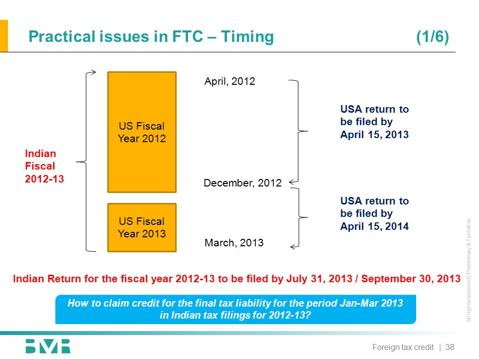 All rights reserved | Preliminary & Tentative US Fiscal Year 2012 US Fiscal Year 2013 Indian Fiscal 2012-13 April, 2012 December, 2012 March, 2013 USA return to be filed by April 15, 2013 USA return to be filed by April 15, 2014 How to claim credit for the final tax liability for the period Jan-Mar 2013 in Indian tax filings for 2012-13.