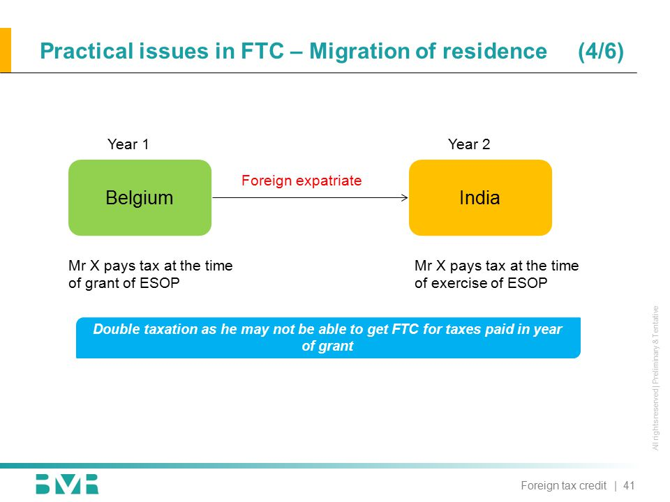 All rights reserved | Preliminary & Tentative Practical issues in FTC – Migration of residence (4/6) BelgiumIndia Mr X pays tax at the time of grant of ESOP Year 1Year 2 Foreign expatriate Mr X pays tax at the time of exercise of ESOP Double taxation as he may not be able to get FTC for taxes paid in year of grant | 41Foreign tax credit