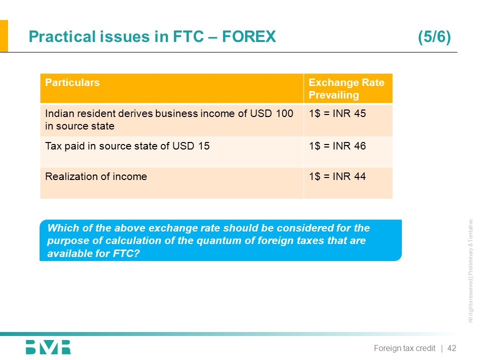 All rights reserved | Preliminary & Tentative Practical issues in FTC – FOREX (5/6) ParticularsExchange Rate Prevailing Indian resident derives busine