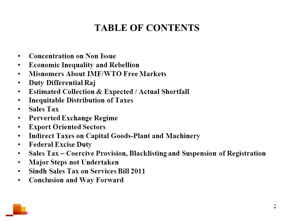 2 TABLE OF CONTENTS Concentration on Non Issue Economic Inequality and Rebellion Misnomers About IMF/WTO Free Markets Duty Differential Raj Estimated