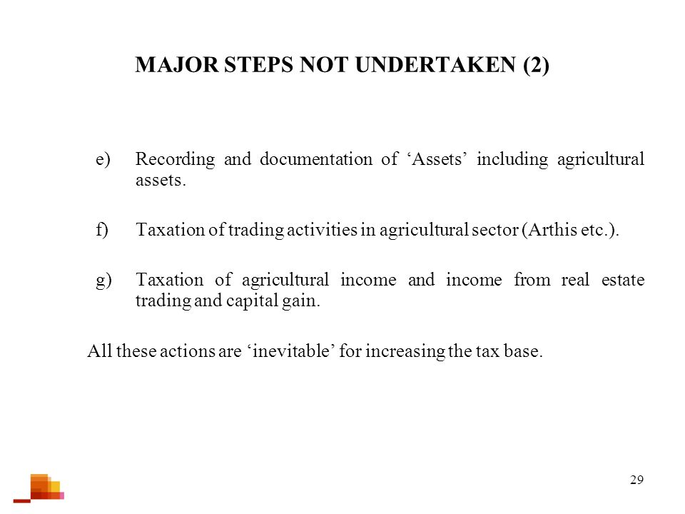 29 MAJOR STEPS NOT UNDERTAKEN (2) e)Recording and documentation of 'Assets' including agricultural assets. f)Taxation of trading activities in agricul