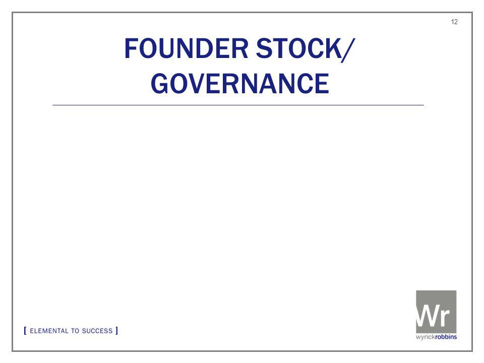 FOUNDER STOCK/ GOVERNANCE 12