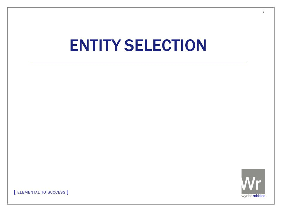 ENTITY SELECTION 3