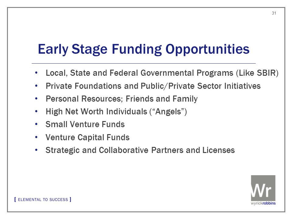 Early Stage Funding Opportunities Local, State and Federal Governmental Programs (Like SBIR) Private Foundations and Public/Private Sector Initiatives Personal Resources; Friends and Family High Net Worth Individuals ( Angels ) Small Venture Funds Venture Capital Funds Strategic and Collaborative Partners and Licenses 31